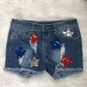 Vigoss 4th July sequin jean shorts size 12 youth